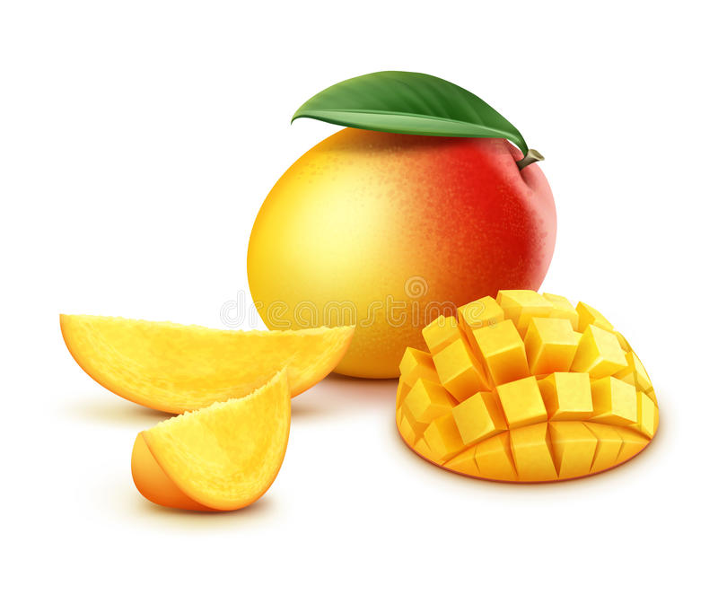 Whole and sliced mango cubes. Vector ripe yellow, orange, red whole and sliced mango cubes with leaf isolated on white background stock illustration