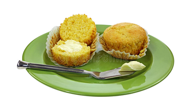 Corn Muffins Buttered Knife Plate stock image