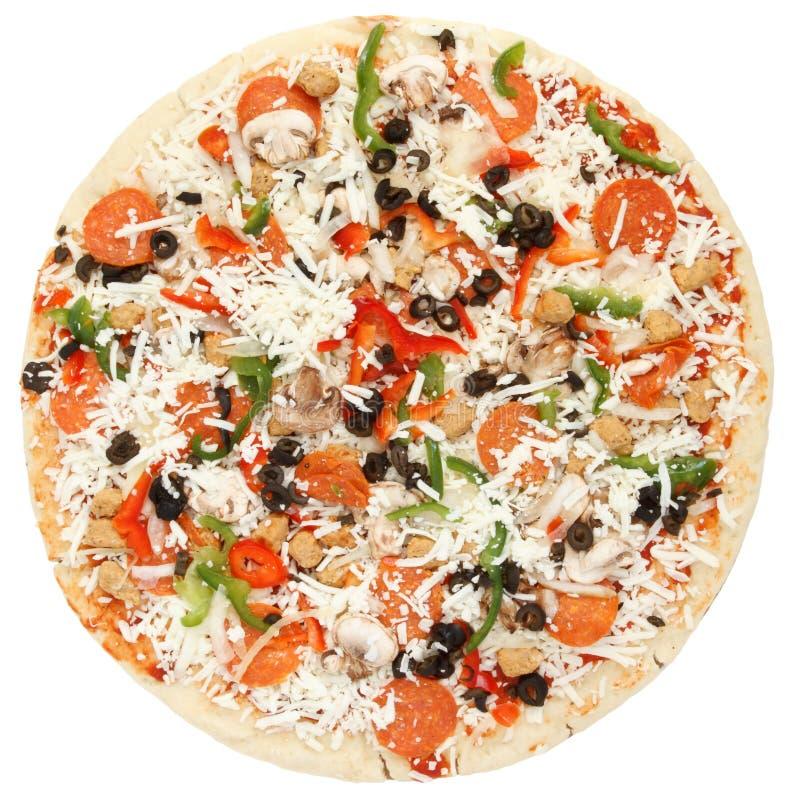 Whole supreme pizza. Whole fresh supreme pizza isolated on white background royalty free stock image