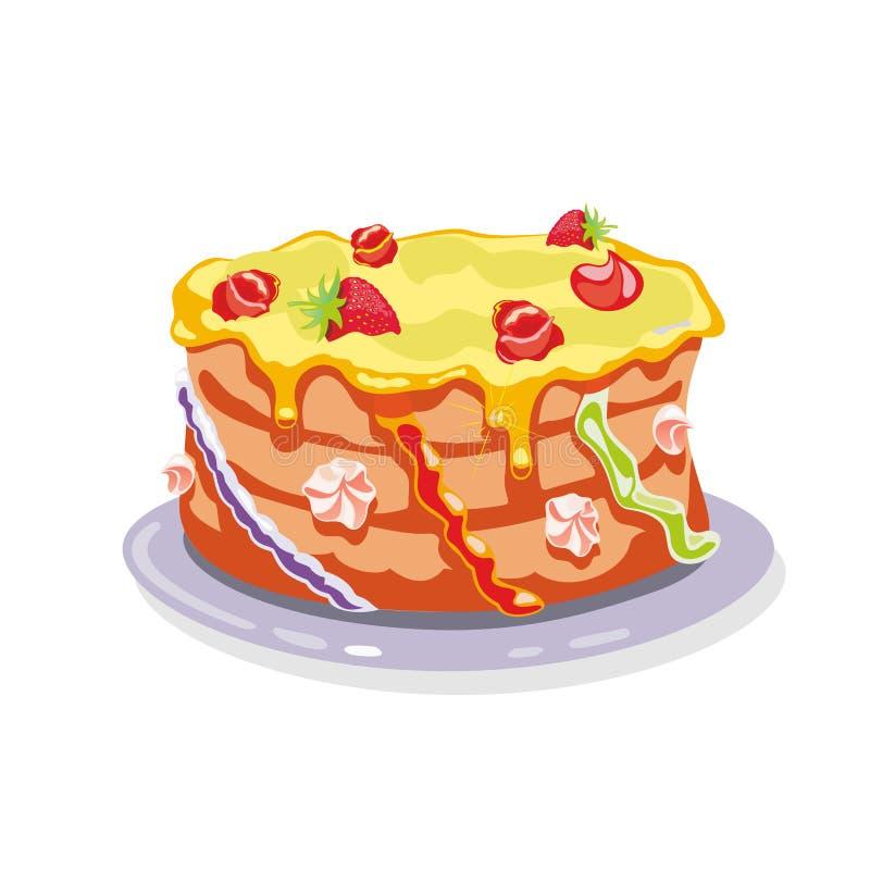 Whole torte, gateau, cake garnished with yellow buttercream, strawberries, cream flowers. Whole layer torte, gateau, cake garnished with yellow buttercream royalty free illustration