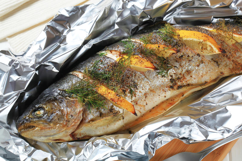 Whole Trout en Papillote royalty free stock photo