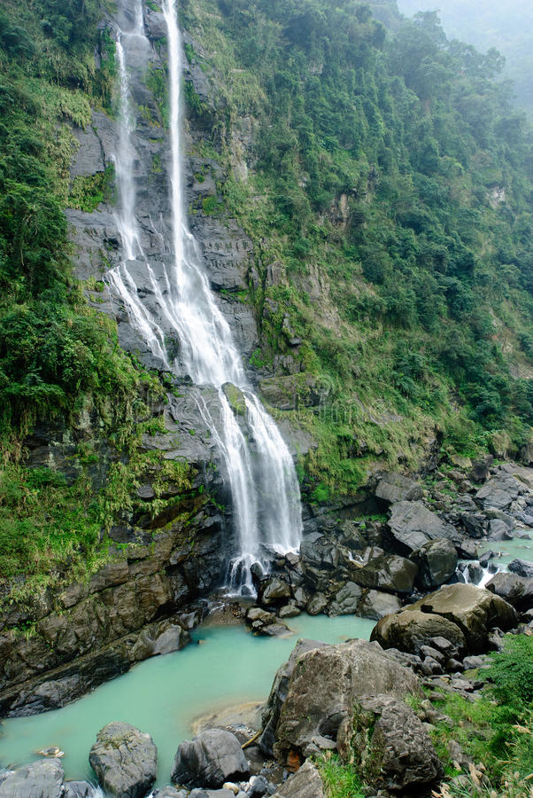 Whole view of waterfall in Wulai District royalty free stock photo
