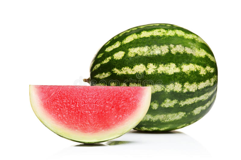 Whole watermelon and slice stock photography
