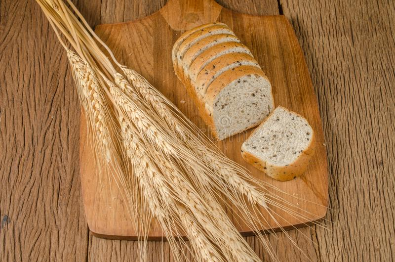 whole wheat bread with black sesame and barley grain royalty free stock images
