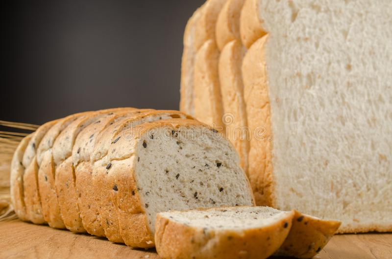 whole wheat bread with black sesame and barley grain royalty free stock photo