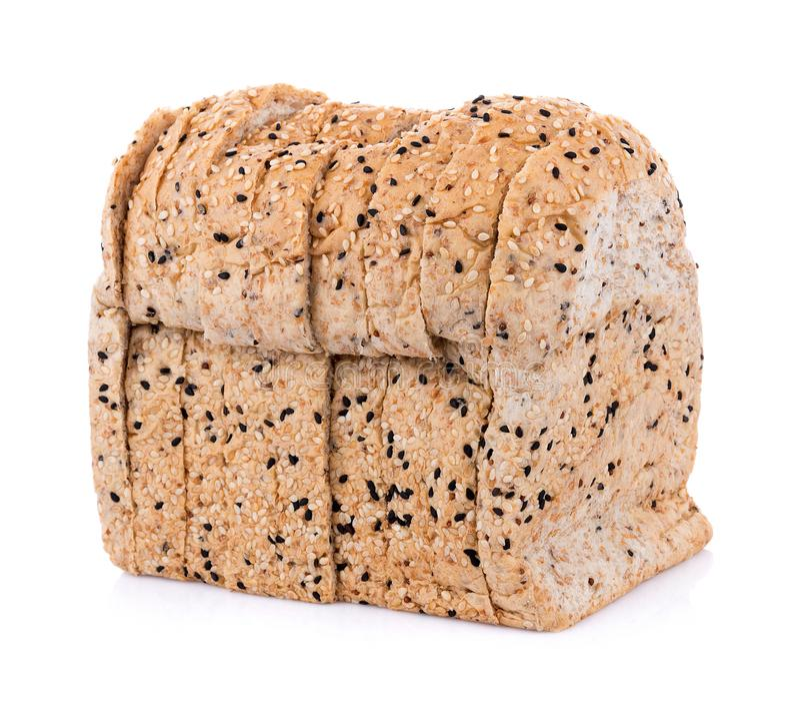 Whole wheat bread  on white background royalty free stock photos