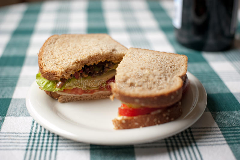 Whole wheat sandwich on checkered table cloth
