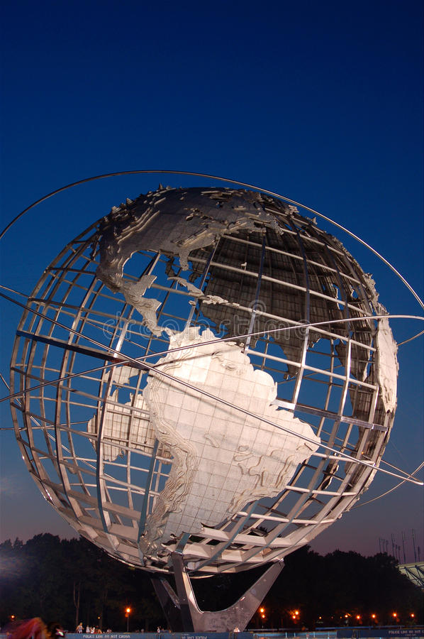 The Whole Wide World. The Metal Unisphere is a relic from the 1964 New York World`s Fair. It sits in Flushing Meadows Park, in Queens stock image