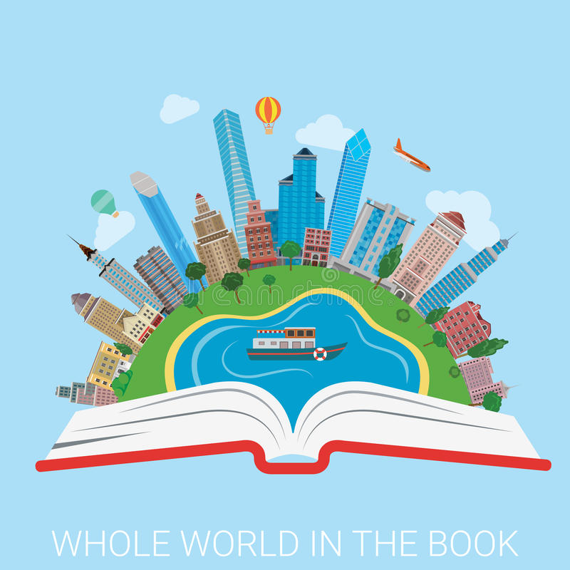 Whole world in book city collage knowledge education flat vector stock illustration