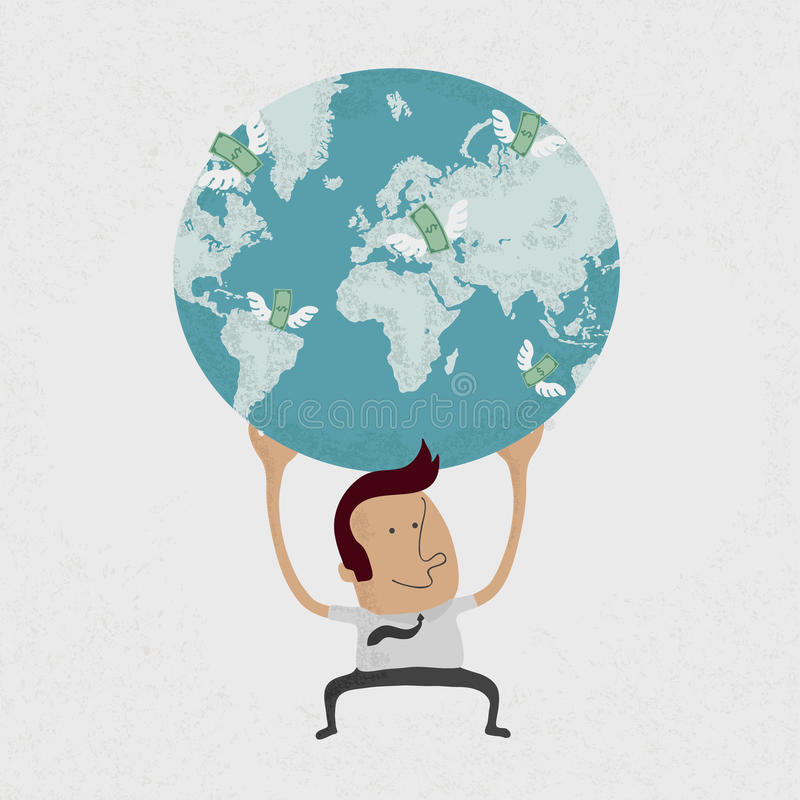 The whole world is in the hands of a businessman stock illustration