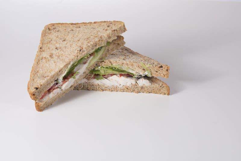 Wholegrain kurczak sałatki kanapka z kopii przestrzenią fotografia stock