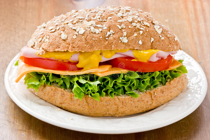 Wholemeal Ham Salad Sandwich stock photo