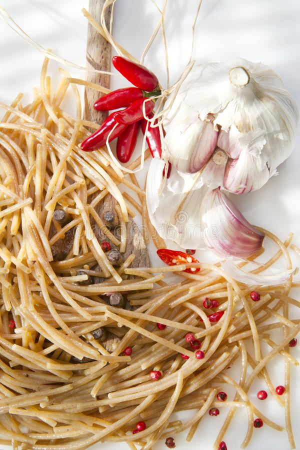 Wholemeal Spaghetti Garlic And Chili Oil Stock Photo