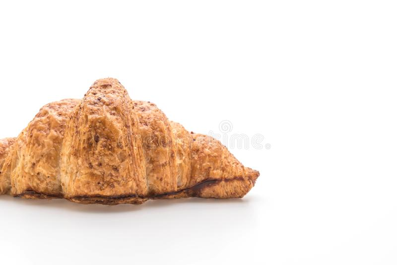 wholewheat croissant na bia?ym tle obrazy royalty free