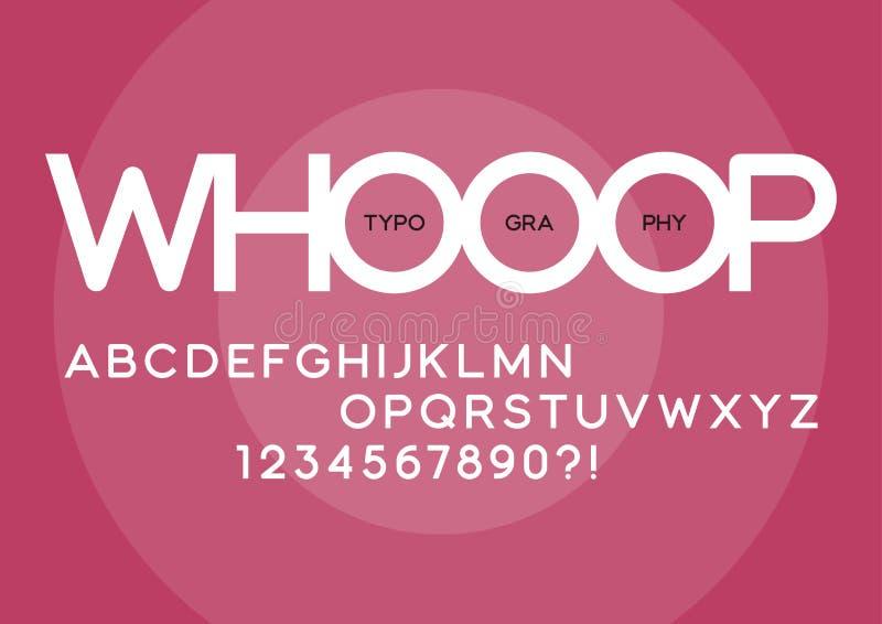 Whooop rounded regular sans serif typeface design. royalty free illustration