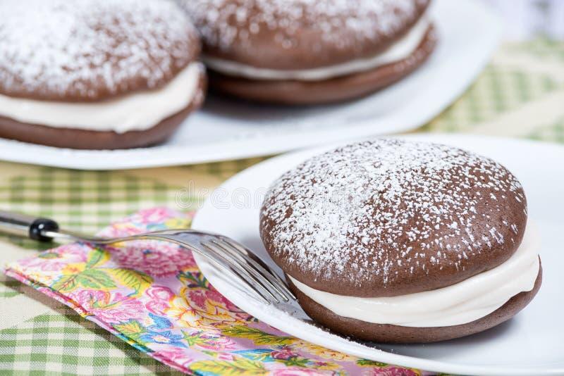 Whoopie-Torten-Schokoladenkuchen lizenzfreie stockfotografie