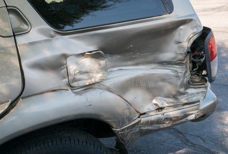 Whoops, some serious automobile damage. SUV has some serious accident damage royalty free stock image