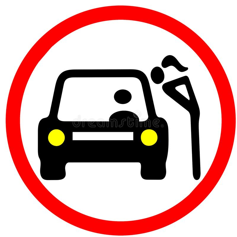 A with car in bargaining. Prostitution illustration red circular road sign. Isolated vector illustration