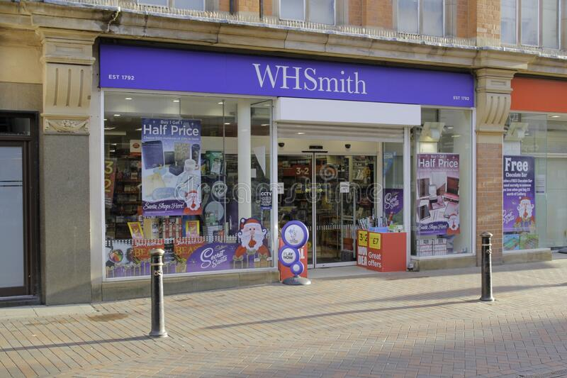 WHSmith PLC is a British retailer. STAFFORD, UNITED KINGDOM - Dec 28, 2019: WHSmith PLC is a British retailer, headquartered in Swindon, Wiltshire, which stock photo