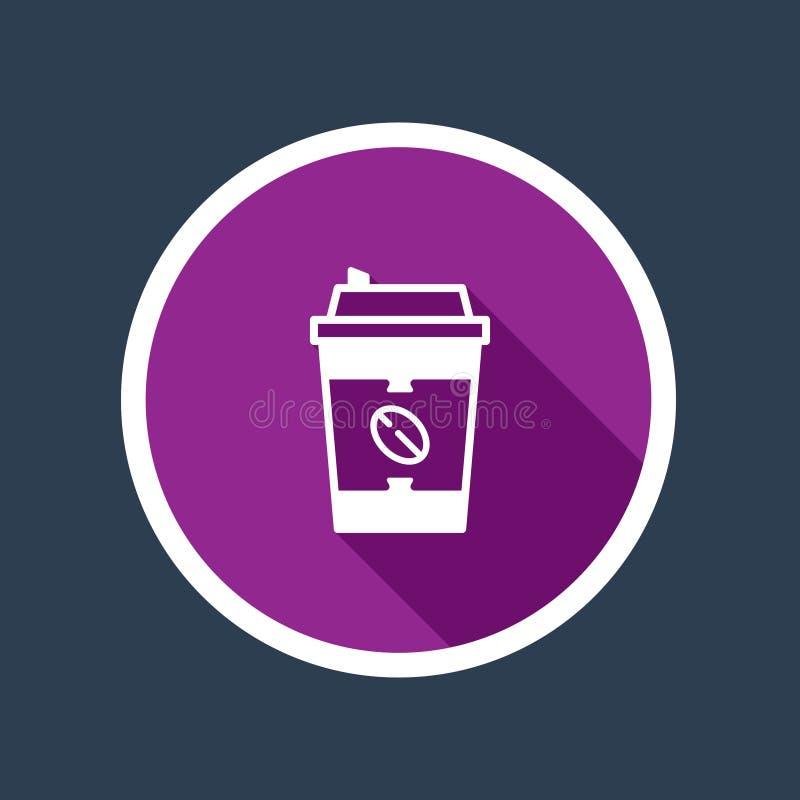 Whte, purpurowa plastikowa filiżanki ikona w okręgu ilustracji