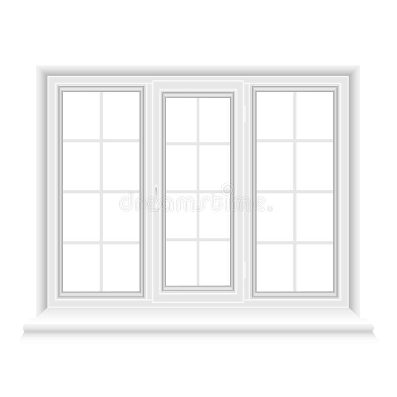 Whtie triple closed window stock illustration
