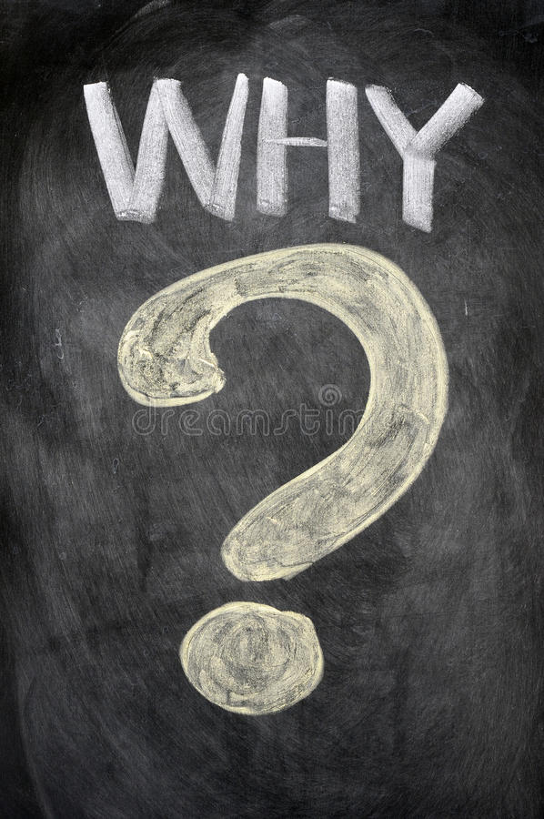 WHY with a big question mark stock illustration
