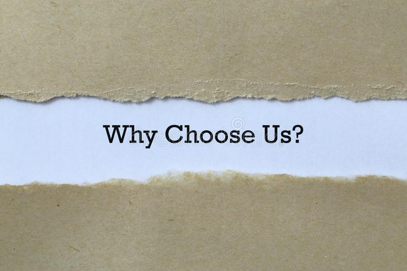 Why choose us on paper. Background royalty free stock photo