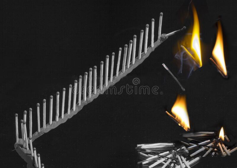 Why do matches burn? A short time and matches-no, burned. stock image