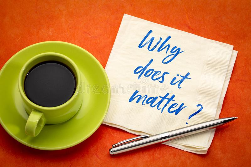 Why does it matter. ? Handwriting on a napkin with a cup of coffee royalty free stock image