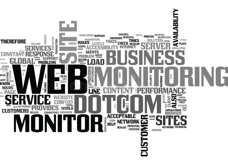Why Dotcom Monitor Service Is Crucial To E Business Word Cloud. WHY DOTCOM MONITOR SERVICE IS CRUCIAL TO E BUSINESS TEXT WORD CLOUD CONCEPT vector illustration