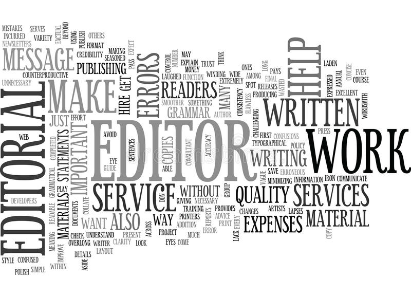 Why Are Editorial Services Important Word Cloud. WHY ARE EDITORIAL SERVICES IMPORTANT TEXT WORD CLOUD CONCEPT royalty free illustration