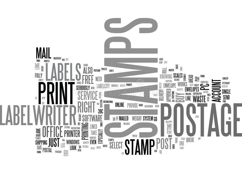 Why Line Up At The Post Office To Buy Postage Stamps When You Can Make Your Own Word Cloud royalty free illustration
