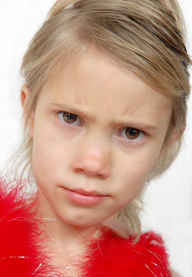 Why not?. Little girl makes a face of frustration over wanting something stock images