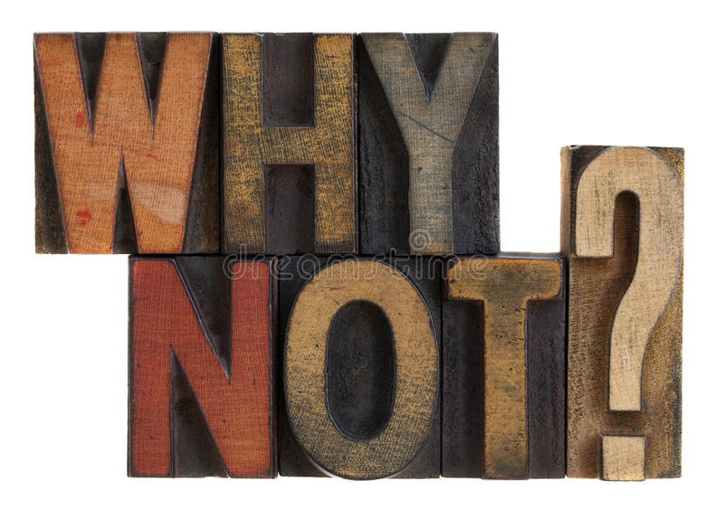 Why Not? Vintage Letterpress Wood Type Royalty Free Stock Photography