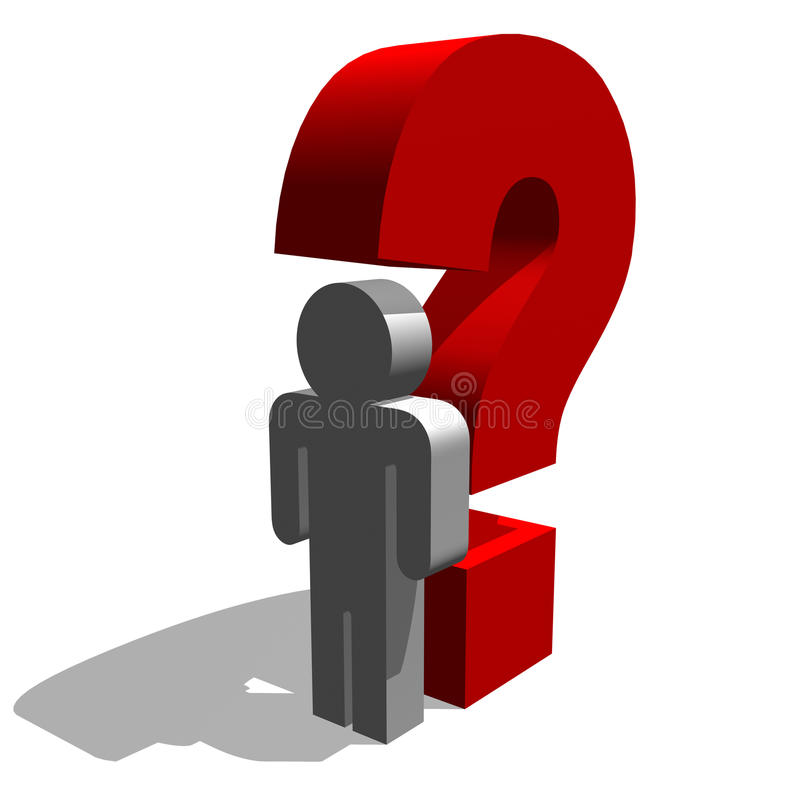 Why what where when. 3d illustration of man figure and question mark vector illustration