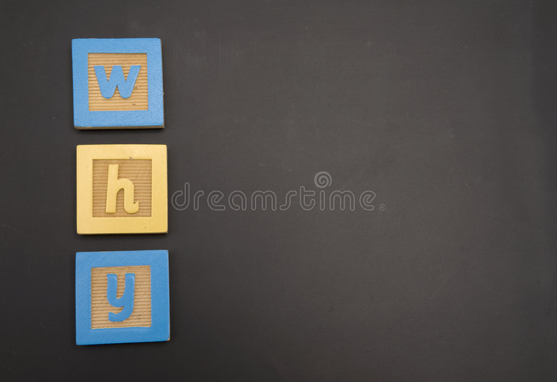 WHY writtin on chalk board royalty free stock images