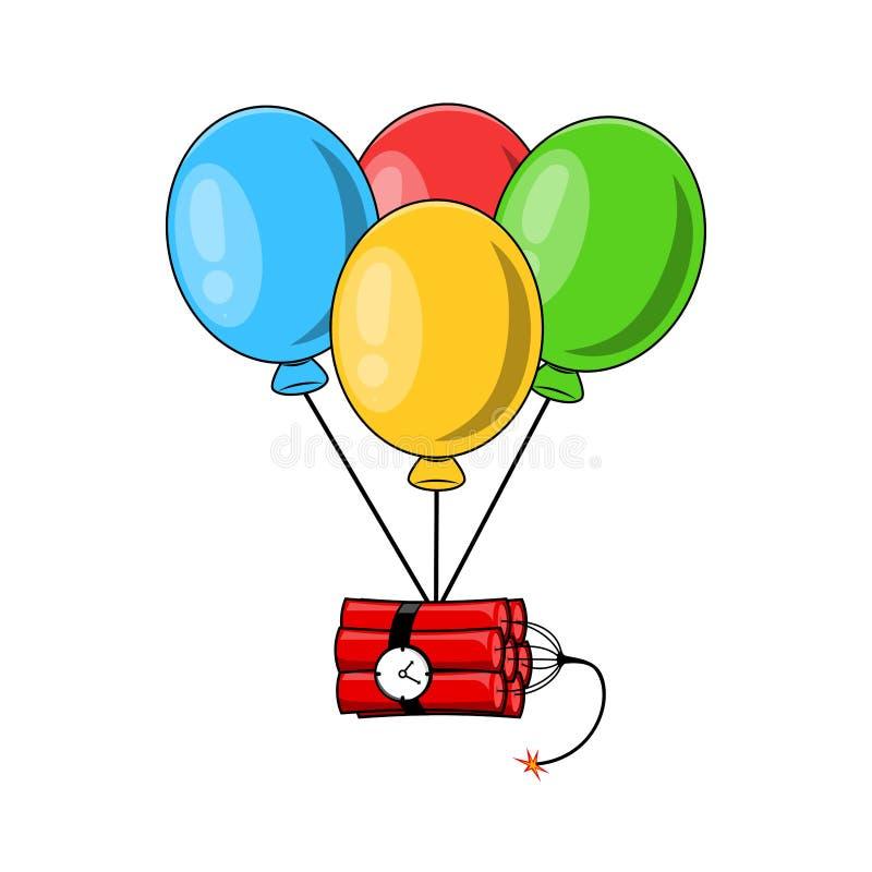 Wiązka lotniczy balony, grupa piłka z tasiemkową round bombą z ogieniem odizolowywającym na białym tle Wybuch Niebezpieczeństwo b ilustracja wektor