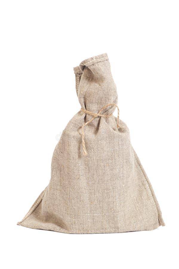 Wiążący z arkana worka torbą na bielu obrazy stock