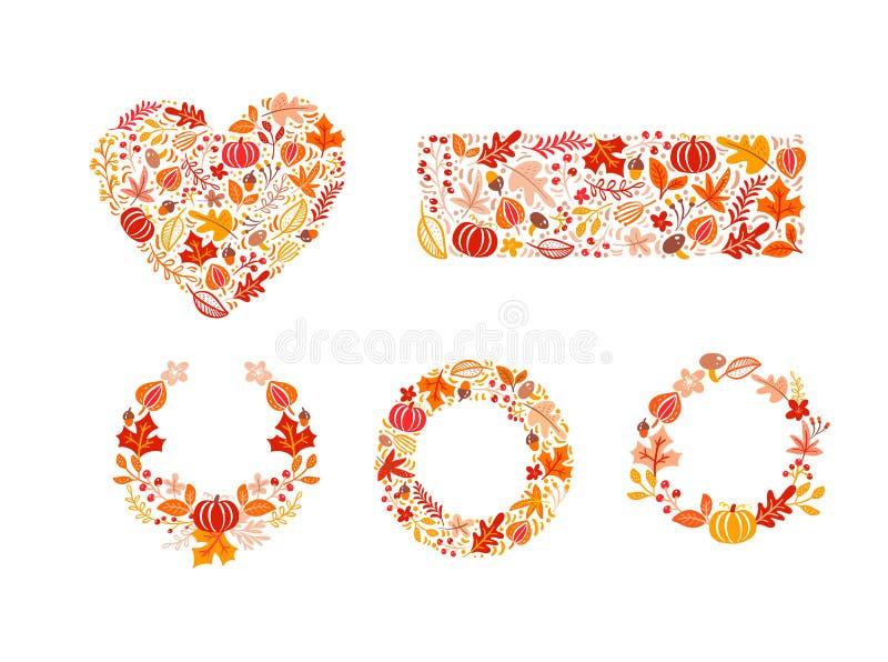 Wiąże set wektorowi jesień elementy robić w sercu, prostokąta kształcie i wianku, Pieczarka, acorn, liście klonowi i bania odizol ilustracja wektor