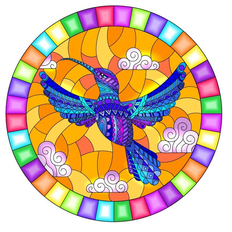 Wiązana szklana ilustracja z niebieskim abstrakcyjnym ptakiem Hummingbird, latającym na niebo i chmury, owalny obraz w jasnym ram royalty ilustracja