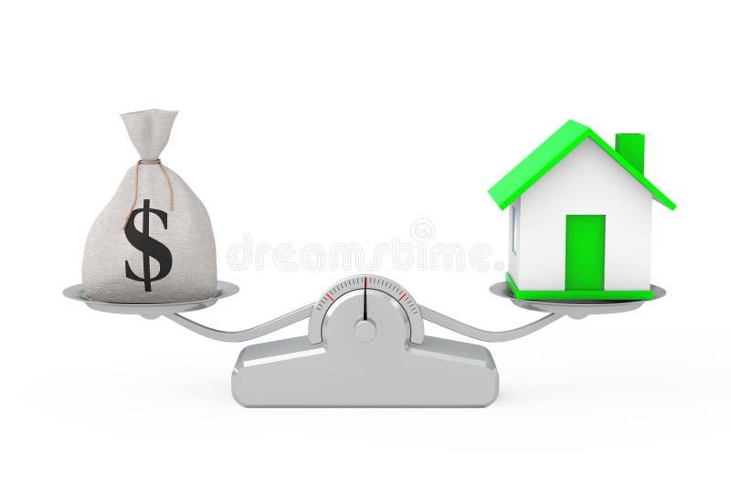 Wiązany Nieociosany Brezentowy Bieliźniany pieniądze worek lub pieniądze torba z Dolarowymi Sig ilustracja wektor