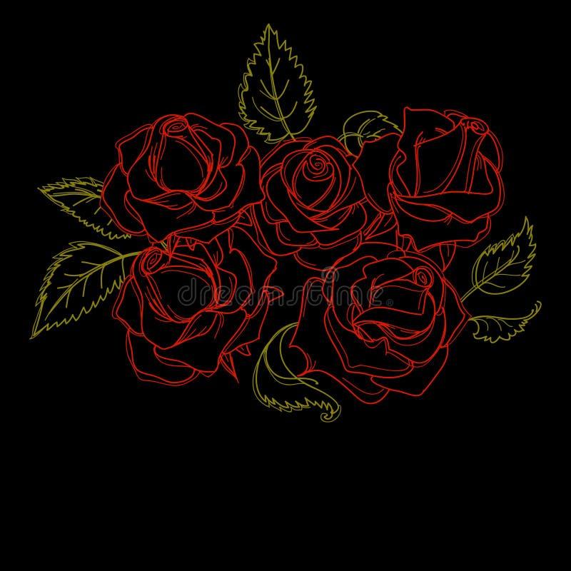 wiązek róże ilustracji