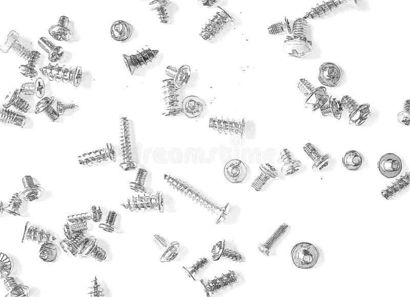 Wiązka śruby i rygle rysujący w ołówku obraz stock