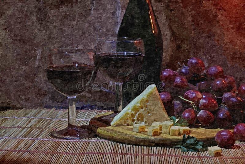 Wiązka ciemni winogrona, ser i szkło młody wino, Życie Malować mokrą akwarelę na papierze Naiwna sztuka royalty ilustracja