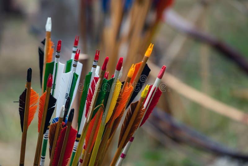 Wiązka colourful łęk strzały dla łucznictwa Archer rywalizacja, strzela przy celem obraz royalty free