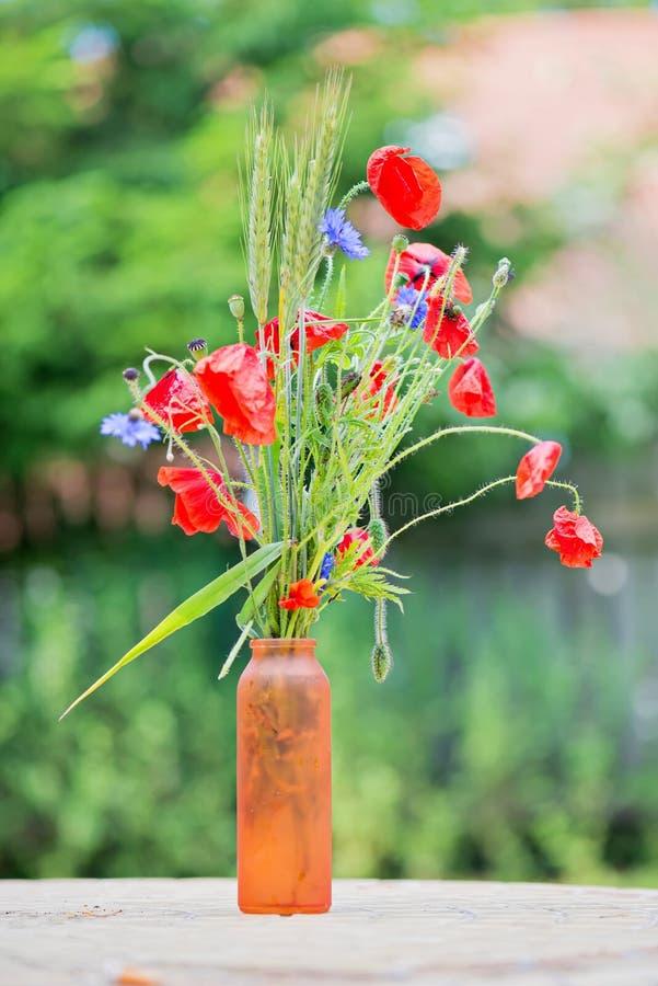 Wiązka czerwoni maczki i cornflowers obraz stock