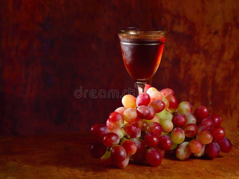 Wiązka czerwony winogrono i wina szkło fotografia stock
