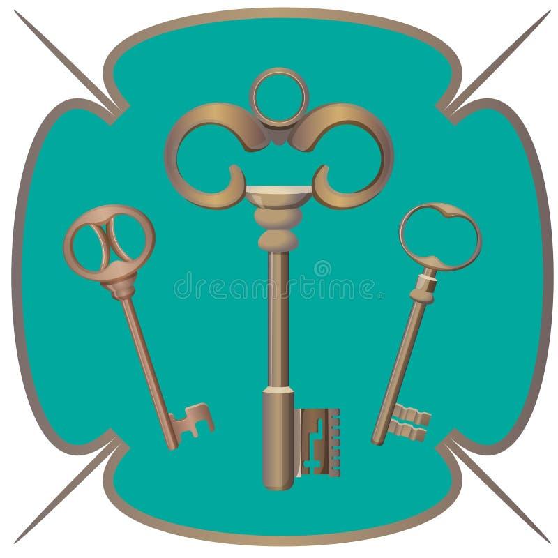 Wiązka klucza metalu chrom dekoracyjny otwiera stalowych elementy ilustracja wektor