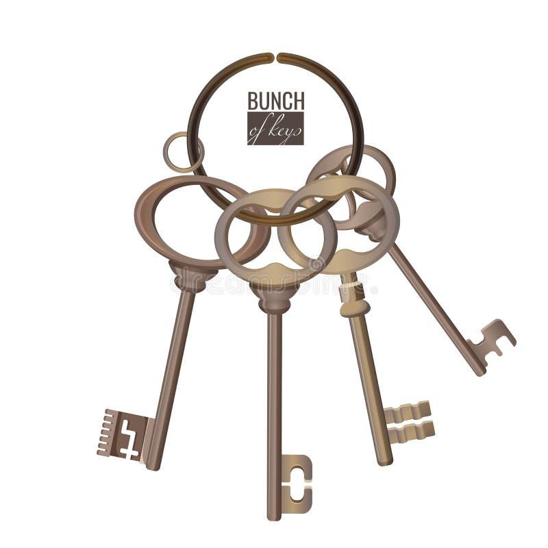 Wiązka klucza metalu chrom dekoracyjny otwiera stalowych elementy ilustracji