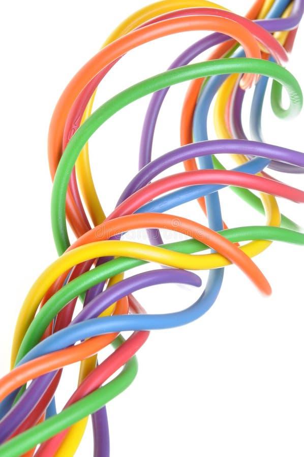 Wiązka kolorowi elektryczni druty zdjęcie stock